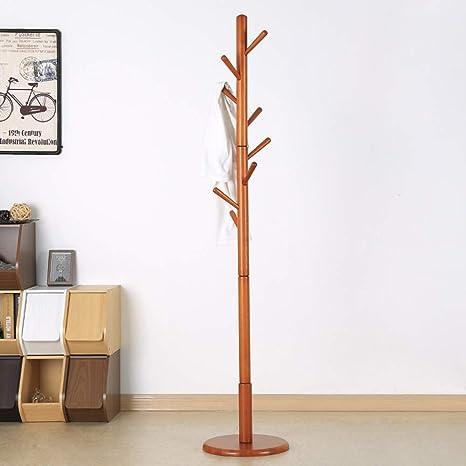 Amazon.com: MEIDUO Perchero de madera de pie libre, con 8 ...