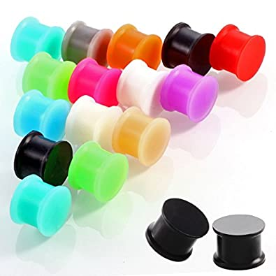 IPINK-12 Pairs Silicone Ear Flesh Tunnels Saddle Ear Plugs Gauges Body Piercing 8G-1''