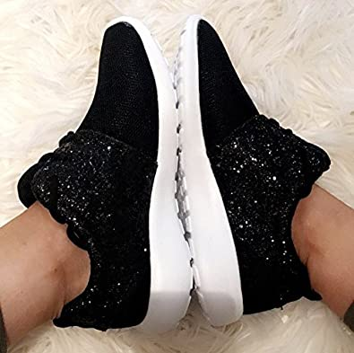 WOMENS LADIES SILVER GREY GLITTER SPARKLY SNEAKERS