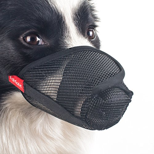 Dog Licking Face - FOMATE Dog muzzle, Gentle mesh anti licking quickly fit long snout doggie mask mouth cover for postoperative recovery surgery operation