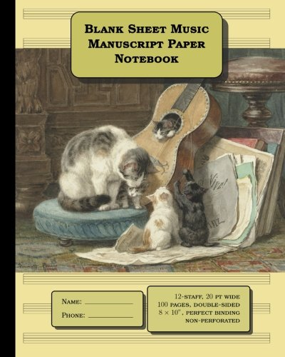 Read Online Blank Sheet Music (Manuscript Paper Notebook): 12 stave * 100 pages, standard staff width = 20 pt, notebook size = 8 x 10 inches: double-sided, perfect binding, numbered pages ebook