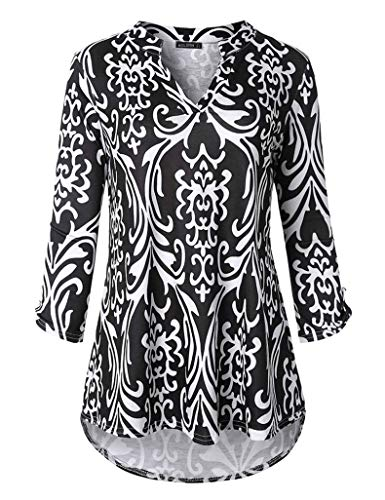 Acloth Women 3/4 Sleeve Pleated Blouse V Neck Flared Print Shirt Top(3/4 Sleeve Flower Black, XX-Large)