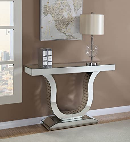 Coaster Home Furnishings Coaster Contemporary U Shaped Base Silver Console Table with Mirrored Panels, 47.25 L x 14 W x 31.5 H,