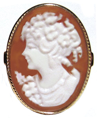 - Cameo Ring Italian Master Carved Romantica Sterling Silver 18k Gold Overlay Sardonyx Shell Size 8.25