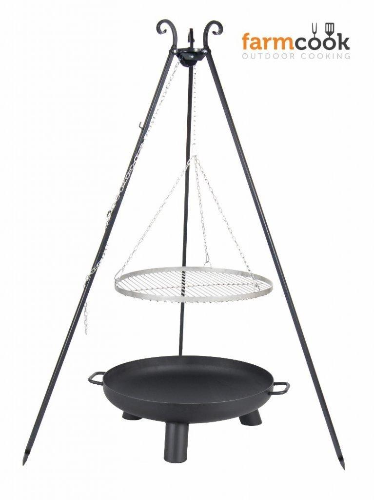 Dreibein Grill VIKING Höhe 180cm + Grillrost aus Edelstahl Durchmesser 60cm + Feuerschale Pan37 Durchmesser 70cm