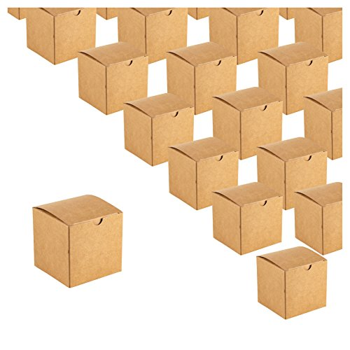 Kraft Gift Boxes - 50-Pack Gift Wrapping Brown Paper Boxes, Kraft Boxes for Party Supplies, Cupcake Containers, Wedding Favors, Small, 3.1 x 3.1 x 3.1 inches