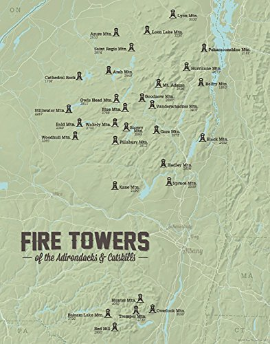 Best Maps Ever Adirondack Fire Tower Challenge Map 11x14 Print (Sage)