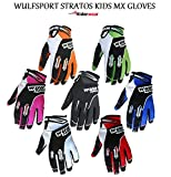 Wulfsport Stratos Junior Motocross Quad Pit Bike Off Road Enduro Kids Mx Gloves in Black, Blue, Green, Orange, Pink, Red, White (Black, XS)