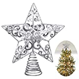 UNOMOR Christmas Star Tree Topper –Silver Glittered Metal Hallow T (Small Image)