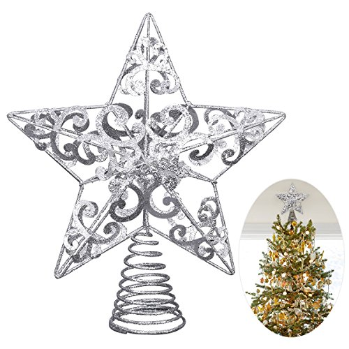 Unomor Christmas Star Tree Topper Silver Glittered Metal Hallow Tree Star Unique Design 8 Inches Base Not Included Fit for General Size Christmas Tree