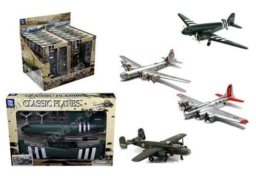 - New 1:48 NEW RAY CLASSIC WWII - BOMBERS TRANSPORTER PLANES MODEL KITS ASSORTMENT LOCKHEED Diecast Model By NEW RAY TOYS Set of 4 Planes