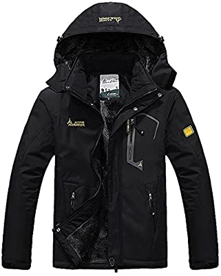 MAGCOMSEN Men's Waterproof Fleece Mountain Jacket Winter Windproof Warm Ski Snowboarding Jacket with Multi-Pockets
