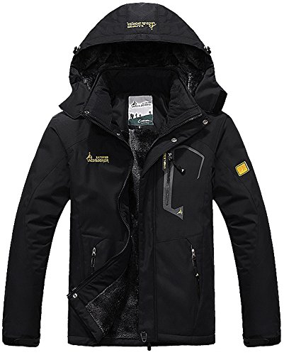 Men's Waterproof Fleece Mountain Jacket Winter Windproof Warm Ski Snowboarding Jacket with Multi-Pockets