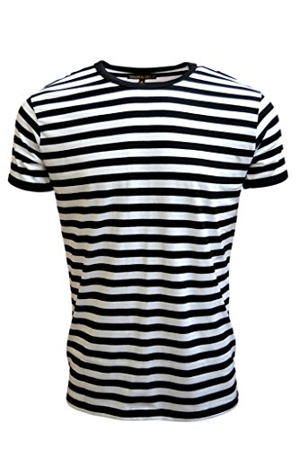 Mens 60's Retro Black & White Striped Short Sleeve T Shirt
