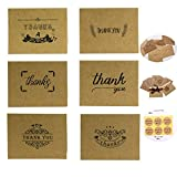 Thank You Note Cards Valentine's Greeting Gift Cards with Envelopes and Stickers for Thanksgiving Day Valentine's Day Mother's Day Holiday Greeting 42 Pieces 6 Designs