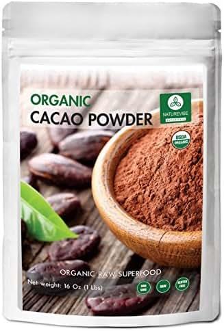 Naturevibe Botanicals Organic Cacao Powder, 1 lb (16 Ounces) | Non-GMO and Gluten Free | Theobroma Cacao | Antioxidant