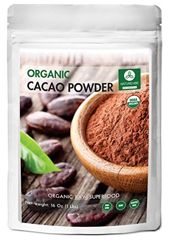 Organic Cacao Powder (1lbs) by Naturevibe Botanicals, Gluten-Free & Non-GMO (16 ounces) by Naturevibe Botanicals