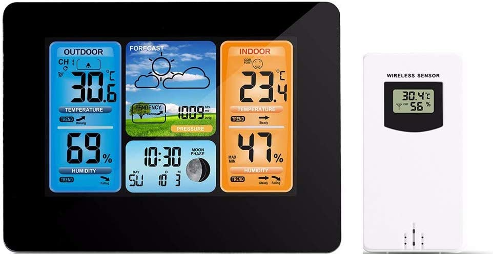 Fenor Wireless Weather Station, Indoor Outdoor Weather Forecast Station with Color LCD Display, Dcf Wireless Digital Alarm Clock, Humidity Temperature Monitor, Barometer (Black)