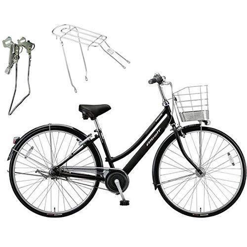 【両立スタンド+後キャリア付】ブリヂストン シティサイクル自転車 アルベルト A75LB F.ピアノブラック   B07NW8G7FF