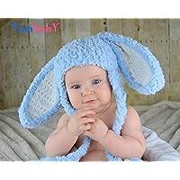 3e09ec884d0 Blue Floppy Ear Bunny Hats for Baby or Kids Fluffy Bunny Rabbit Ears Beanie