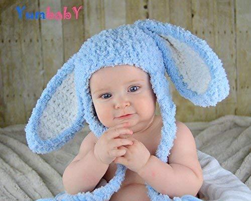 a26f26909 Blue Floppy Ear Bunny Hats for Baby or Kids Fluffy Bunny Rabbit Ears Beanie