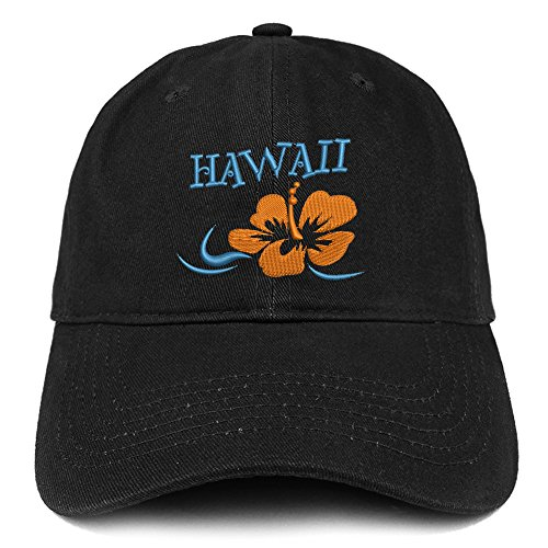(Trendy Apparel Shop Hawaii and Hibiscus Embroidered Brushed Cotton Dad Hat Ball Cap - Black)
