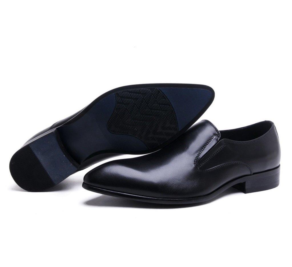 SHANGWU Zapatos de Cuero de Cuero Genuino de los Hombres Zapatos de Cuero de los Hombres Británicos Puntiagudos Zapatos de Vestir de Negocios Zapatos de Cuero de Ganado de Alta Calidad Hechos a Mano 37 Negro