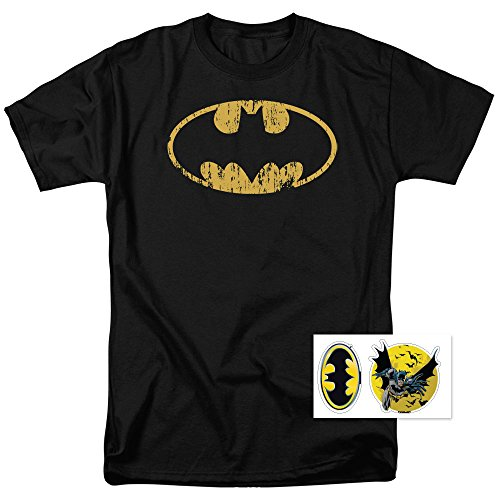 Distressed Logo Mens T-shirt - Batman Logo Distressed DC Comics T Shirt & Exclusive Stickers (Medium)