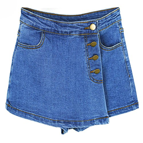 Skirt Skort Jean (Nutsima High Waisted Denim Shorts for Women Summer Skorts Skirts Slim Blue Short Jeans Vintage Short Skort Ladies)