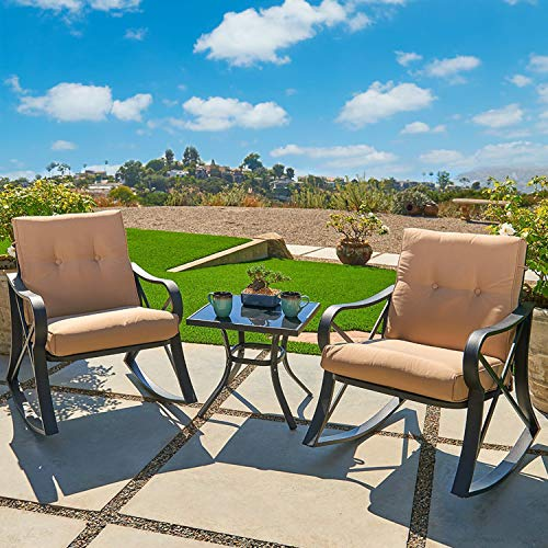 - Outroad 3-Piece Rocking Metal Bistro Set Black Outdoor Patio Set Glass Top Table & Thick Cushions for Porch, Garden, Backyard or Pool