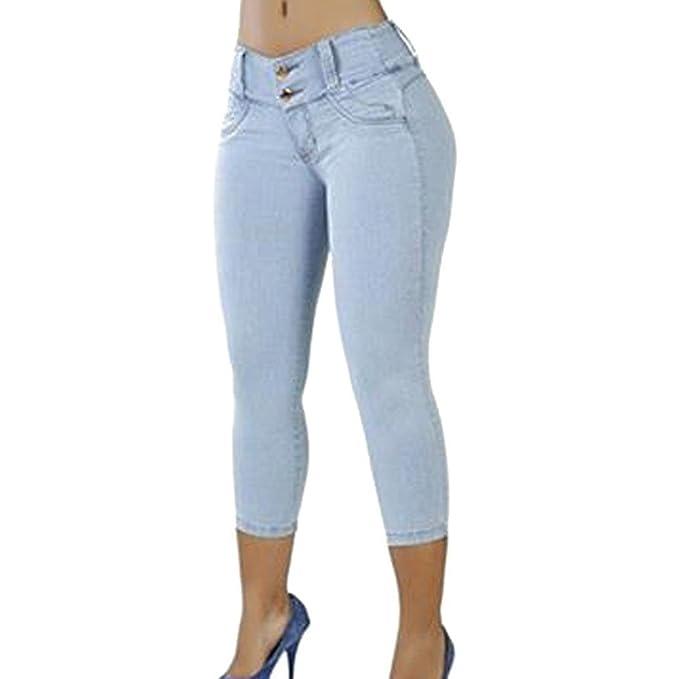 Jeans Summer Ajustados bajo Elásticos de Oneforus Talle Pantalones Ajustados Ajustados Entero Cuerpo Girl Mujeres Las BlancoAzul de 34 de Leggings dxPwFFvY