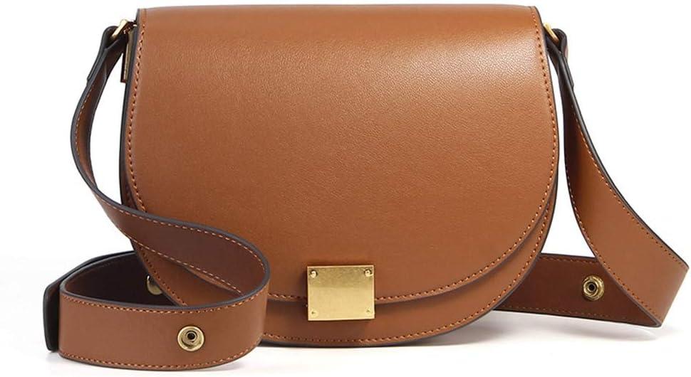 100% Cuero Genuino Retro Lady Messenger Bag Elegante Lady One Shoulder Messenger Bag Negro marrón Oscuro Bolsa de Citas Negro Marrónclaro