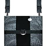 Large Silver-Black Reptile, 17'' x 12'' Zippered Mobility Bag for Multiple Devices