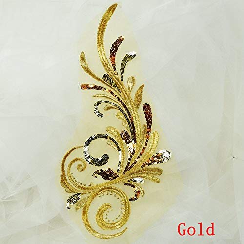 (2 Pcs Sequined Wing Beaded Embroidered Patches For Dress Handmade Sew on Accessories DIY Clothes Sequin Applique (gold))