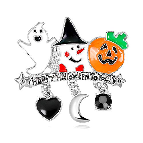 Happy Halloween Ghost Gif - CAROMAY Happy Halloween Brooch Lapel Pins