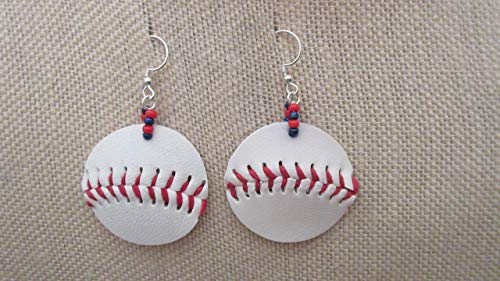 (Boston Red Sox or Chicago Cubs Inspired Large Faux Leather Baseball Earrings)