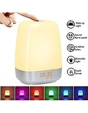 Luces-despertador Despertador con Luz Nocturna Wake Up Light con Simulación de Amanecer, Control Táctil, 3 Niveles Brillo, 16 Millones de Colores Seleccionando, 5 Sonidos Naturales, USB Recargable