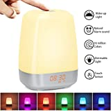 Wake-up Light, Night light with Sunrise Simulation, 5 Nature Sound, Touch Control, Bedside Light with 3 Bright Levels, 256 Color Changing Mode Sunrise Alarm Clock for Bedroom, Charisma's gif