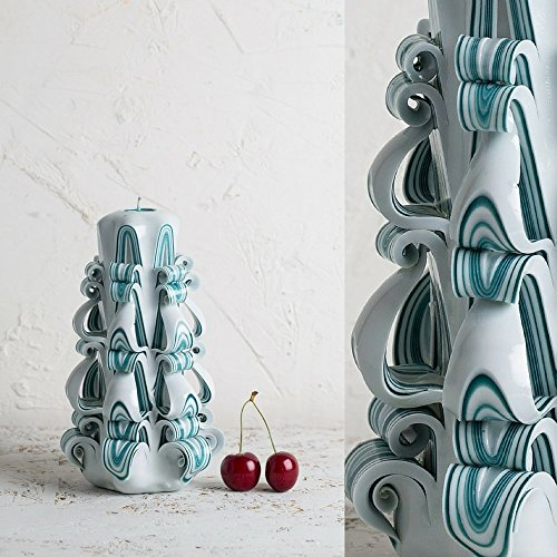 Turquoise Strips on White - Decorative Carved Candle - Gentle colors - Art Sculpture - EveCandles