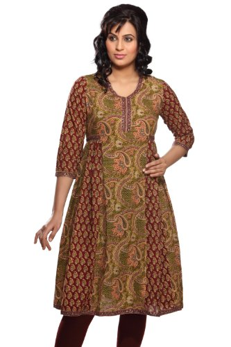 Women's Indian Mix N Match Kurta Medium Olive by In-Sattva