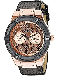 GUESS Womens U0289L4  Rose Gold-Tone Multi-Function Watch with Grey Python Dial