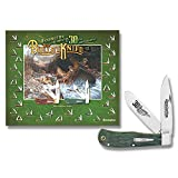 Remington Knives 19144 30th Anniversary Bullet Trapper Knife with Green Curly Maple Handles and Poster Set
