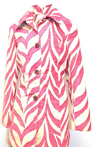 3 Sisters Jacket Dressy Tunic Length 3 Button Bold Designer Coat Made In U.S.A. (Medium, Trinity Pink (Chenille Zebra Fabric)