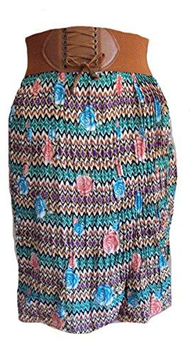 - Sacred Threads Shirt Pleated Floral Funky Skirt One Size Waist 24-34