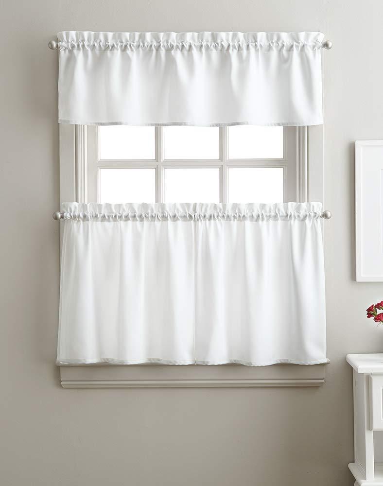 Solid Twill 3-Piece Kitchen Curtain Set, Rod Pocket, 29W x 36L Tier Pair, 58W x 12L Valance, White