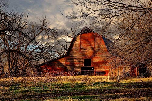 - Rustic Red Barn Photography Print - Picture of Old Barn on Autumn Day Country Western Decor Wall Art Print for Home Decoration 5x7 to 40x60