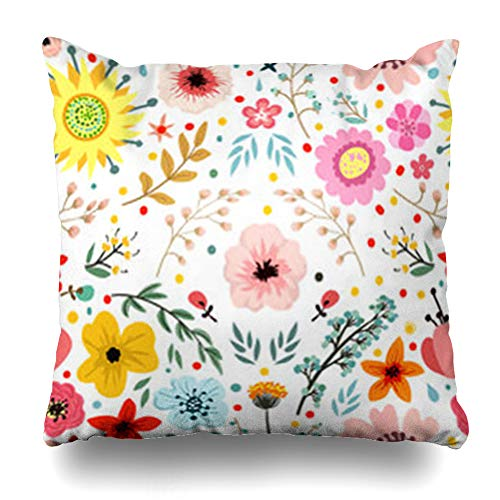 - YeaSHARK Throw Pillow Covers Fresh Whimsical Abstract Flowers Herbs Botanical Nature Pattern Blooming Blossom Bouquet Branches Zippered Design Square 18