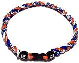 """Sport Ropes 3 Rope Titanium Necklace (Blue/Orange/White, 18"""")"""