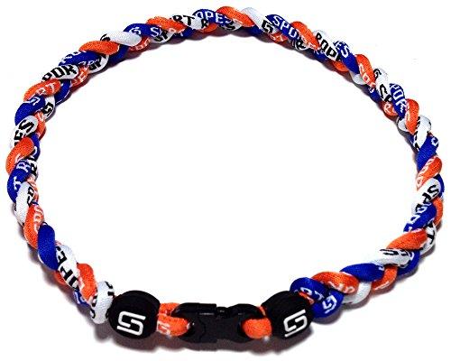 Sport Ropes 3 Rope Titanium Necklace  Blue Orange White  18