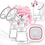 Double Electric Breast Pump Portable - Bplives Dual Breast Pump with Touch Screen - Adjustable Mode & Pumping Suction Levels for Mom's Breastfeeding (Pink)